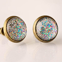 Chunky Silver Holographic Glass Earrings