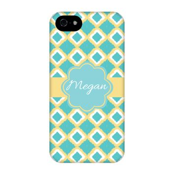 Aqua-Yellow iKat Personalized Phone Case