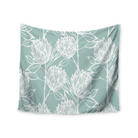 "Gill Eggleston ""Protea Jade White"" Blue Flowers Wall Tapestry"