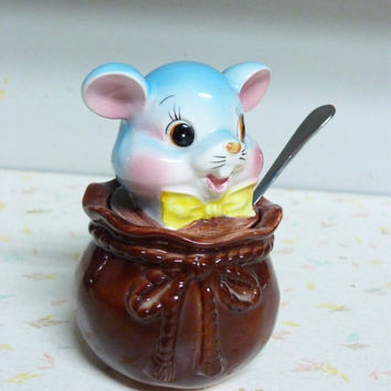 Vintage Japan Sugar Bowl Mouse In a Bag 1950's Alice in Wonderland Vintage Sugar Bowl Anthropomorphic
