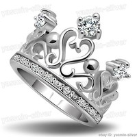 Genuine Solid Sterling Silver CZ Crown Eternity Ring Size 6 7 8 9 10 R206209