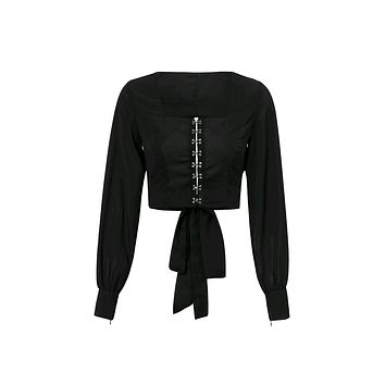 Fast Moves Long Lantern Sleeve Square Neck Cut Out Back Bow Crop Top Blouse - 5 Colors Available