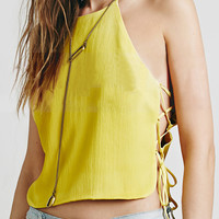 Yellow Lace Up Crop Top