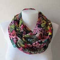Floral Infinity Scarf, Black Colorful Chiffon Infinity Scarf, Circle Scarf, Women Loop Scarf, Fall Winter Spring Summer Fashion,Gift For Her