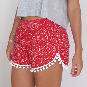 Dotted Floral Print Elastic Waist Shorts with Tassels