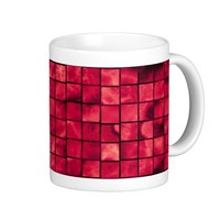 red tlle pattern coffee mugs