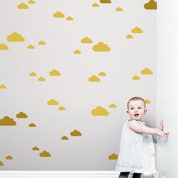 56pcs/set White Clouds Wall Stickers Adesivo de parede mini clouds Wall Stickers For Kids Room Baby Nursery Wall Art Mural D901