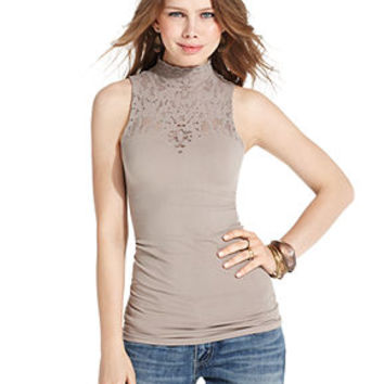 Free People Top, Sleeveless Lace Mock-Turtleneck - Tops - Women - Macy's