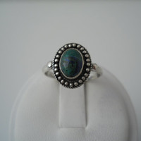Sterling Silver 925 Azurite Ring Oval Bead Blue Green Stone Size 7 FAS 925 #5