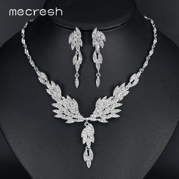 Mecresh Eagle Wing Shape Crystal Bridal Jewelry Sets Silver Color Wedding Necklace Set For Women Jewelry Accessories MTL431