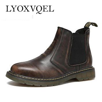 Genuine Leather Men Boots Retro Punk Style Patent Leather Men Ankle Cowboy Boots Outdoor Male Chelsea Boots plus size 47 M417