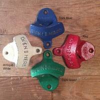 Wall mount bottle opener pick your color beer dad gift stock the bar cast iron rustic distressed vintage party favor groomsman