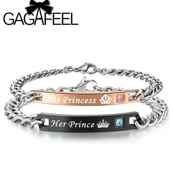 GAGAFEEL Stainless Steel Her Prince and His princess Bracelets For Lovers Women Men Engrave Name Romantic Bangle Bracelet Couple
