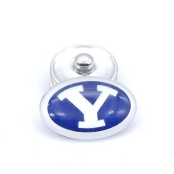 Snap Button 18mmX25mm NCAA BYU Cougars Charms Interchangeable Buttons Bracelet Football Fans Gift Paty Birthday Fashion 2017