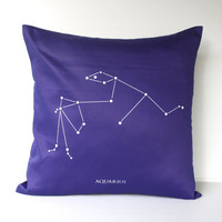 AQUARIUS zodiac cushion astrology decorative by mybeardedpigeon