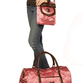 Pink Heart Duffle Bag Plus Cross Body Messenger Bag