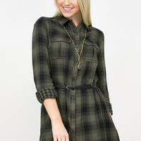Double Face Plaid Belted Tunic Dress