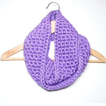 Radiant Orchid Infinity Scarf, Crochet Scarf, Purple Chunky Cowl, Circle Scarf, Women's Neckwarmer, Winter Accessory
