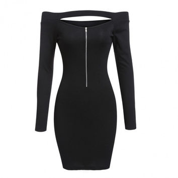 Sexy Women Knitted Off Shoulder Long Sleeve Half Zip Bodycon Pencil Mini Dress