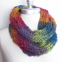 Infinity Scarf, Knit, Rainbow Stripes