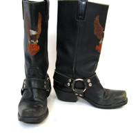 Vintage HARLEY DAVIDSON Embroidered Harness Motorcycle Boots Size 7