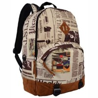 16.5 Inch Newspaper Pattern Lightweight Kids School Bookbag / Fashion Backpack