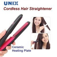 Unix Cordless Hair Straightener Ceramic Heating Plate Rechargeable - Black