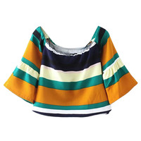 Multicolor Off Shoulder Flared Sleeve Stripe Blouse
