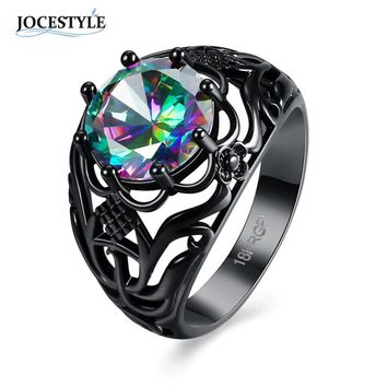 Vintage Black Zircon Ring for Women Black Hollow Wedding Engagement Ring Fashion Cocktail Party Index Finger Spinner Ring 2017
