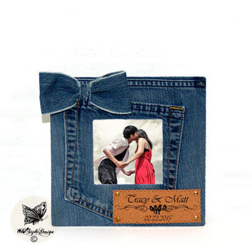 Picture Frame Personalized Frame Personalized Picture Frame Denim Frame Jeans Frame Denim Photo Frame Denim Decor Jeans Decor Jeans Frame