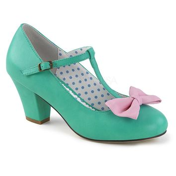 Pin Up Couture Wiggle Teal Bow Cuban Heel Pumps