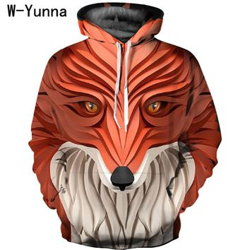 W-Yunna New Fashion Sculpture Print Fox/horse/lion Design Hoodies Stylish Drawstring Pullover Sweatshirt Oversized Couple Coats