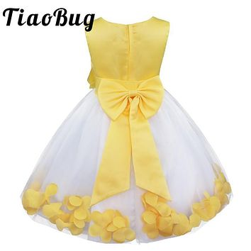 TiaoBug Kids Infant Vestido Infantil Girls Flower Petals Dresses Children Toddler Elegant Pageant Dress for Wedding Bridesmaid