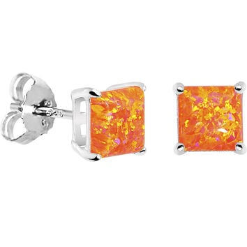 6mm Orange Square Sterling Silver Synthetic Opal Stud Earrings