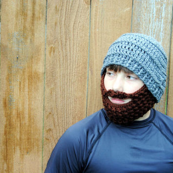 Crochet Beard Hat, Mens Beard Beanie, Boys Bearded Beanie, Kids Crochet Hat, Baby Beard Hat, Knit Hat, Beard Snow Hat with Removable Beard