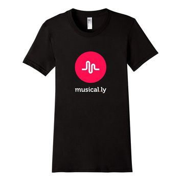 Women's 'musical.ly' T-Shirt (Black - Fitted Cut) Small Black