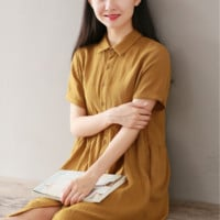 YELLOW LINEN SHORT SLEEVE SHIRT COLLAR SHIRT DRESS TIDE