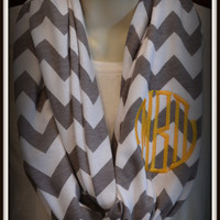 Monogrammed Chevron Infinity Scarf by Misty's on Main