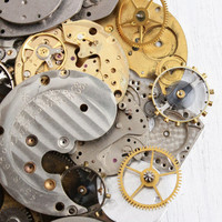 Vintage & Antique Watch Movement, Finding, Gear Lot - Over 50 Clock Pieces for Parts, Jewelry Making Steampunk Industrial Supplies Destash