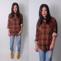 Vintage 1970s brown long sleeve PAPER THIN soft Flannel Button down shirt blouse