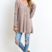 Frayed Hem Blush Sweater