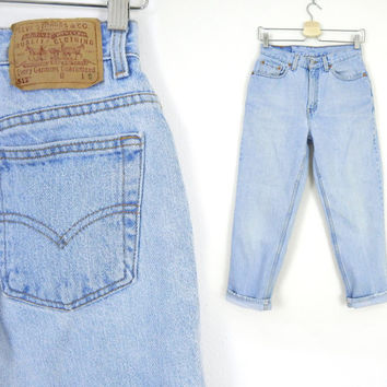 Vintage Levi's 512 Slim Fit Jeans Size 8 SHORT - 80s 90s High Waist Tapered Leg Faded Blue Distressed Women's Jeans