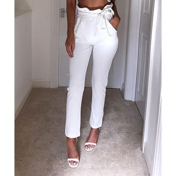 Fashion ladies summer casual thin Pencil Stretch Skinny sashes bow Pleated Stretch High Waist Pants Trousers