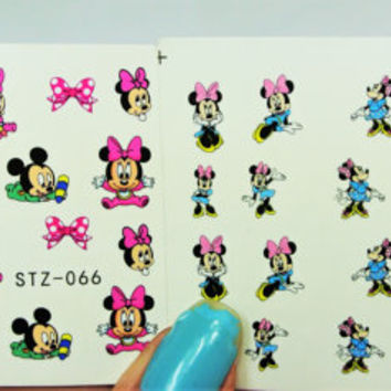 2 sheets Minnie Mouse Nail Decal, Baby Mickey Mouse, Nail Art, Nail Decals, water transfer, Nail Design, Nails, Cartoon Nails, Mickey Nails