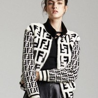 FENDI Winter Fashionable Women Warm Half High Collar Knit Zipper Cardigan Jacket Coat