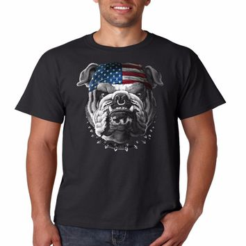 American Bulldogs With American Flag Bandana - Biker T-shirt