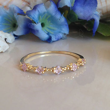 20% off- SALE!! Rose Quartz Ring - Tiny Gold Ring - Slim Stack Ring - Dainty Ring - Bezel Set - Pink Ring - Square Stones Ring