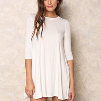 Ivory Ribbed Knit Cut Out Dress