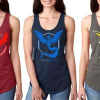Pokemon Go Team Valor Team Mystic Team Instinct lady women Fit Tank Top