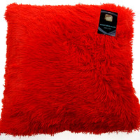 Neon Red Shag Pillow Plush Throw 20x20 Polyester Living Room Sofa Bed Decor